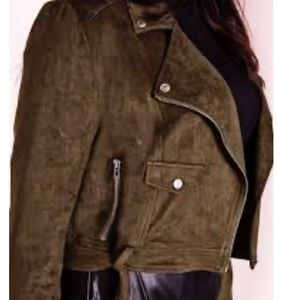 NWT Missguided  Faux Suede Biker Jacket